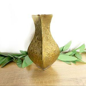 Vintage floral stamped/embossed brass vase 9 Inch